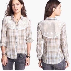 Free People Saddle Up Plaid Lace Shirt